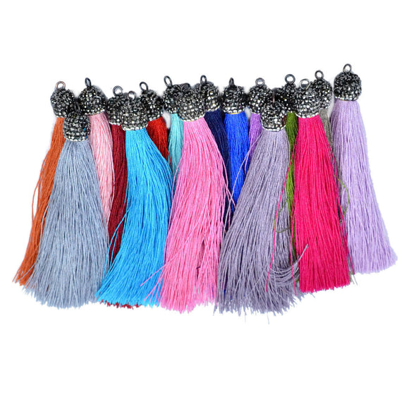 Crystal Silk Tassel Rhinestone Cap Fringe Dangle Pendant Accessories