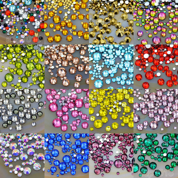 1440Pcs Mixed Size Non Hotfix Quality Rhinestone Flatbacks Nail Art