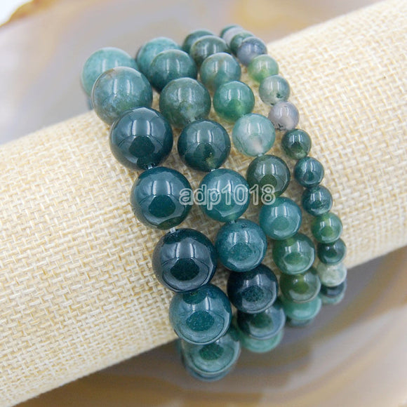 Natural Moss Agate Gemstone Beads Stretch Bracelet Healing Reiki