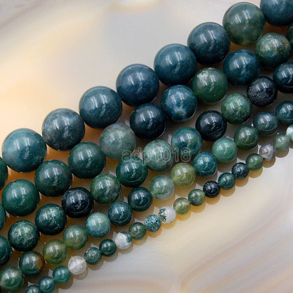 Natural Moss Agate Round Loose Beads on a 15.5