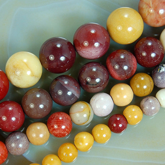 Natural Colorful Moukaite Gemstone Round Loose Beads on a 15.5