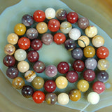 "Natural Colorful Moukaite Gemstone Round Loose Beads on a 15.5"" Strand"