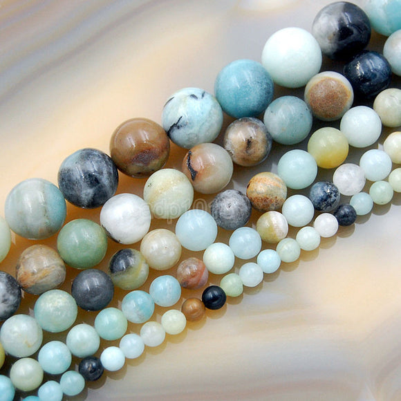 Natural Colorful Amazonite Round Loose Beads on a 15.5