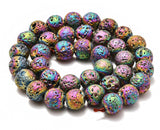 AD Beads 6mm 8mm 10mm Metallic Titanium Coated Rock Lava Gemstones Round Beads 15""