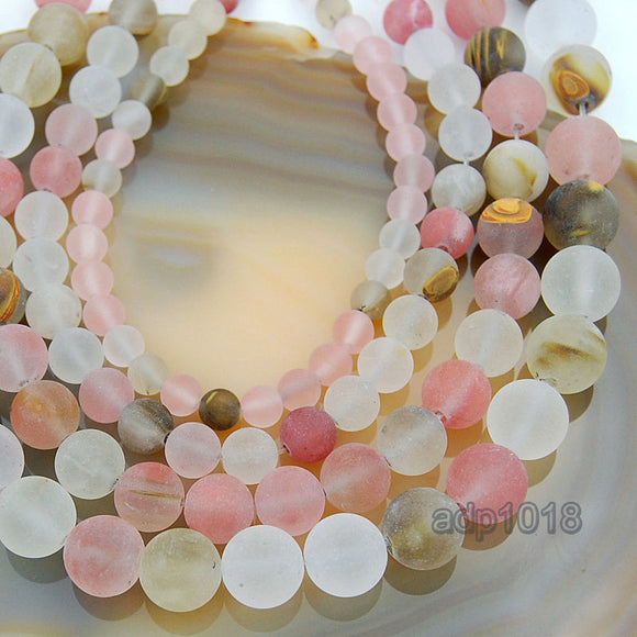 Matte Natural Colorful Volcano Cherry Quartz Gemstone Round Loose Beads on a 15.5