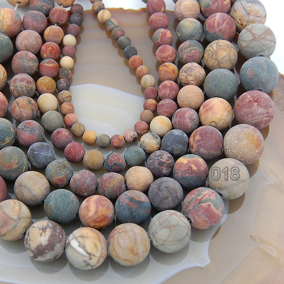 Matte Natural Picasso Jasper Gemstone Round Loose Beads on a 15.5