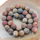 "Matte Natural Picasso Jasper Gemstone Round Loose Beads on a 15.5"" Strand"