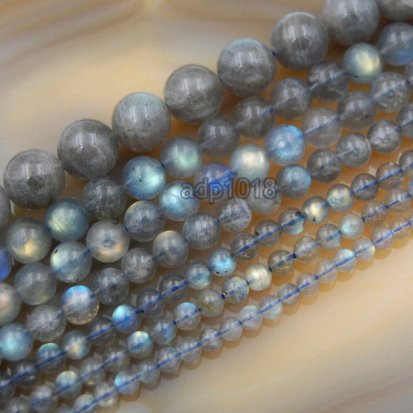 Natural Labradorite Round Loose Beads on a 15.5