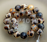 "Tibetan Mystical Old Agate Matte Black & Gold Shell Design Round Gemstone Loose Beads on a 15.5"" Strand"