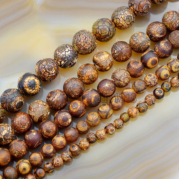 Tibetan Mystical Old Agate Matte Brown & Gold Eye Design Round Gemstone Loose Beads on a 15.5