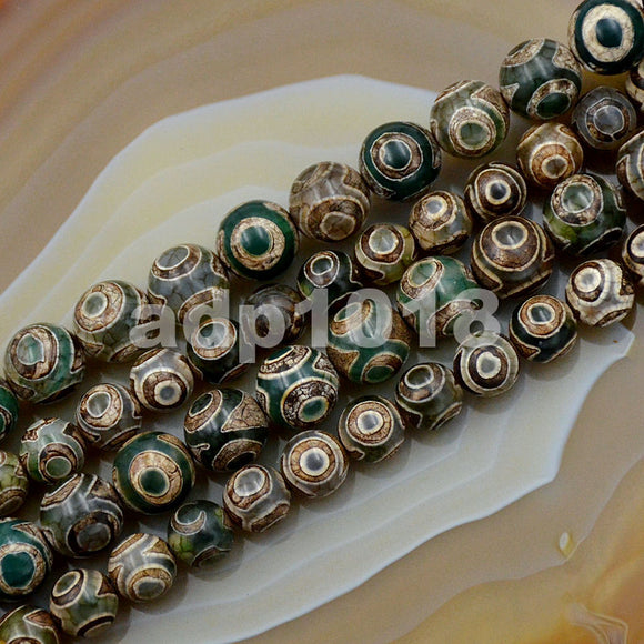 Tibetan Mystical Old Agate Green & Brown Eye Design Round Gemstone Loose Beads on a 15.5