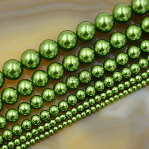 "Czech Olive Green Satin Luster Glass Pearl Round Beads on a 15.5"" Strand"