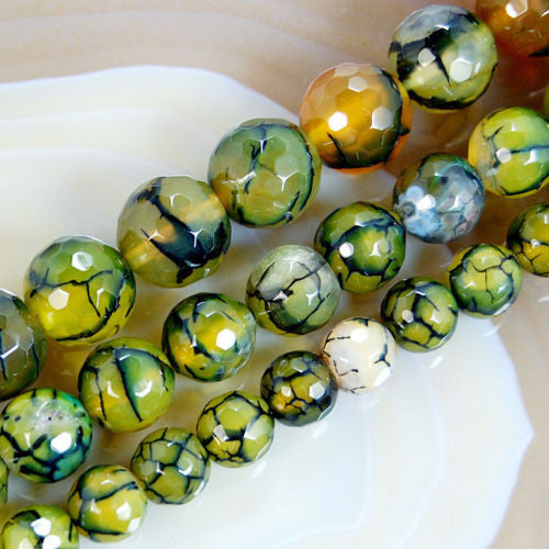 Faceted Natural Olive Fire Agate Gemstone Round Loose Beads on a 15.5