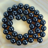 "Natural Black Onyx Gemstone Round Loose Beads on a 15.5"" Strand"