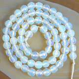 "Faceted White Opalite Gemstone Round Loose Beads on a 15.5"" Strand"