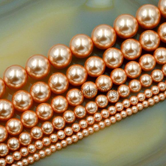 Czech Orange Satin Luster Glass Pearl Round Beads on a 15.5