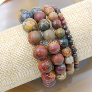 Natural Picasso Jasper Gemstone Beads Stretch Bracelet Healing Reiki