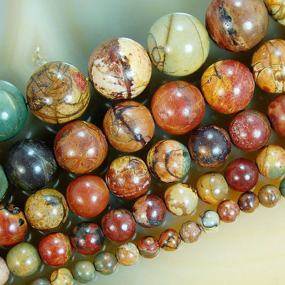 Natural Picasso Jasper Gemstone Round Loose Beads on a 15.5