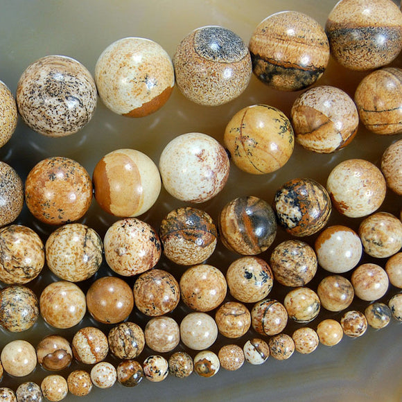 Natural Picture Jasper Gemstone Round Loose Beads on a 15.5
