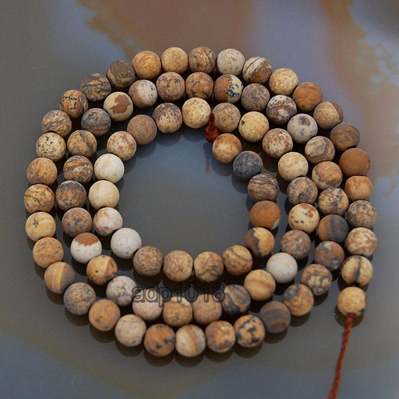 Matte Natural Picture Jasper Gemstone Round Loose Beads on a 15.5