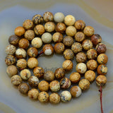 "Faceted Natural Picture Jasper Gemstone Round Loose Beads on a 15.5"" Strand"
