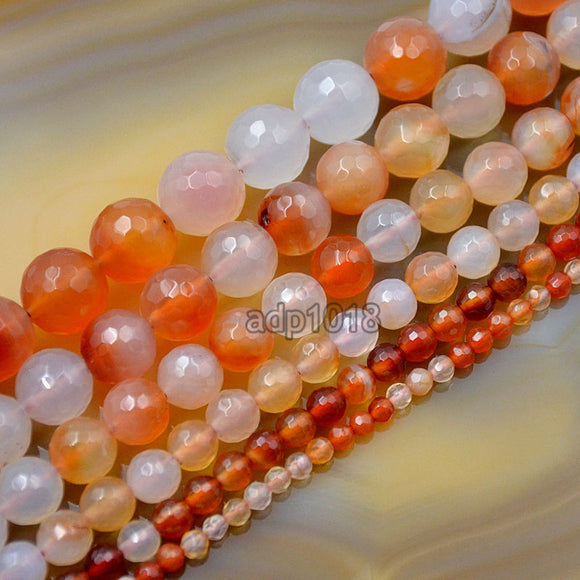 Faceted Natural Pink Agate Gemstone Round Loose Beads on a 15.5