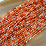 "Faceted Natural Pink Agate Gemstone Round Loose Beads on a 15.5"" Strand"