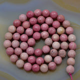 "Faceted Natural Pink Rhodonite Gemstone Round Loose Beads on a 15.5"" Strand"