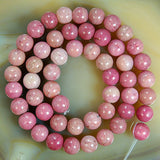 "Natural Pink Rhodonite Gemstone Round Loose Beads on a 15.5"" Strand"