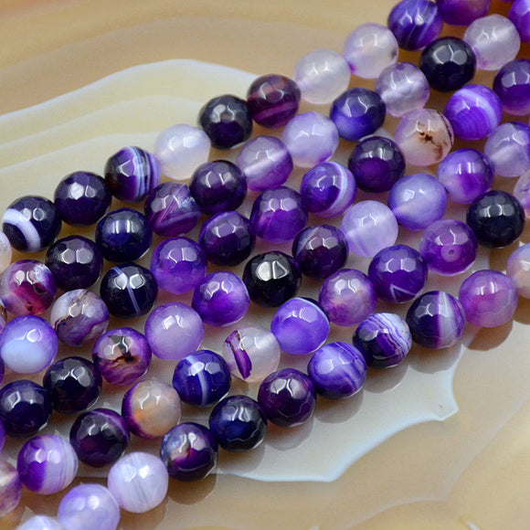 Faceted Natural Purple Striated Agate Gemstone Round Loose Beads on a 15.5