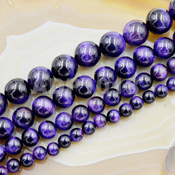 Natural Purple Amethyst Tiger's Eye Gemstone Round Loose Beads on a 15.5