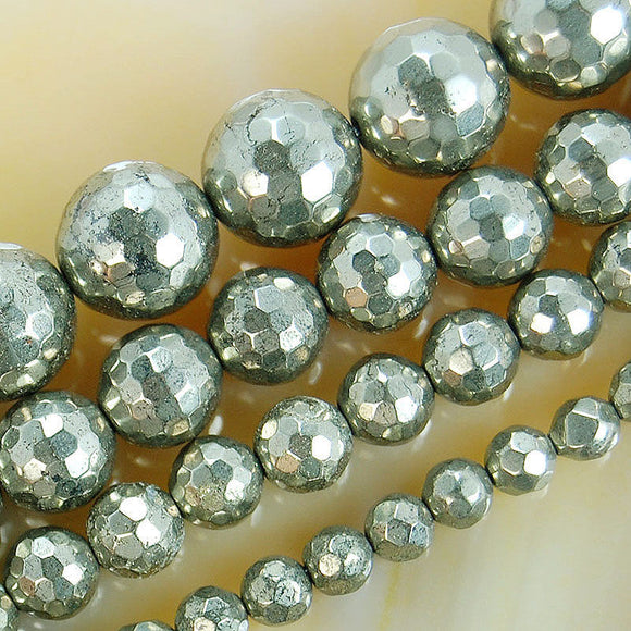 Faceted Natural Pyrite Gemstone Round Loose Beads on a 15.5