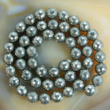 "Faceted Natural Pyrite Gemstone Round Loose Beads on a 15.5"" Strand"