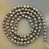 "Faceted Natural Pyrite Hematite Gemstone Round Loose Beads on a 15.5"" Strand"