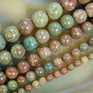 "Natural Rainbow Jasper Gemstone Round Loose Beads on a 15.5"" Strand"