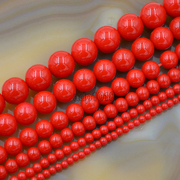 Czech Red Satin Luster Glass Pearl Round Beads on a 15.5