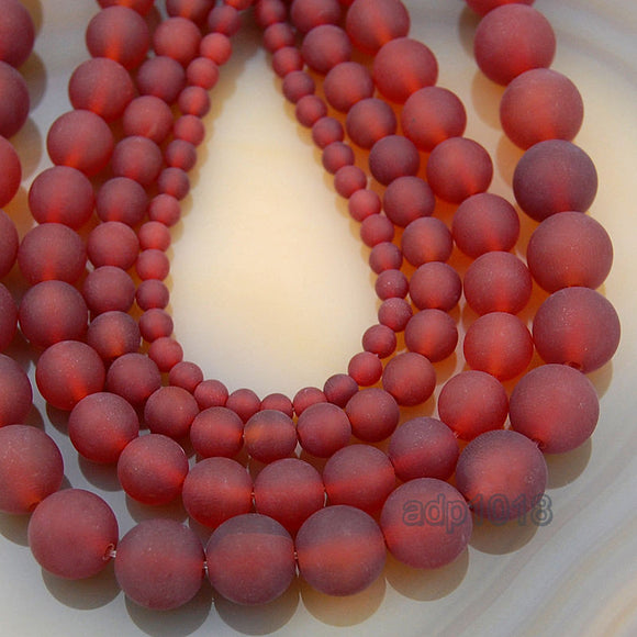 Matte Natural Red Agate Gemstone Round Loose Beads on a 15.5