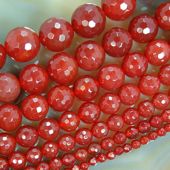 Faceted Natural Red Agate Gemstone Round Loose Beads on a 15.5