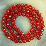 "Natural Red Agate Gemstone Round Loose Beads on a 15.5"" Strand"