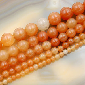 "Natural Red Aventurine Round Loose Beads on a 15.5"" Strand"