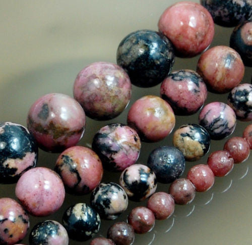 Natural Red Black Rhodonite Gemstone Round Loose Beads on a 15.5