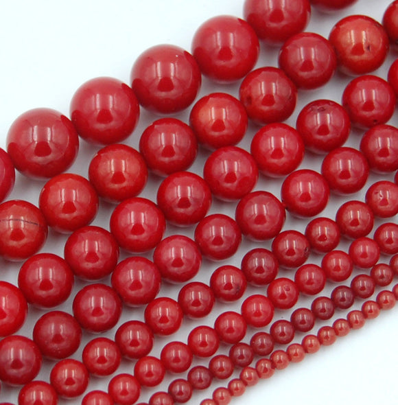 Natural Red Coral Gemstone Round Loose Beads on a 15.5