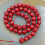 "Natural Red Coral Gemstone Round Loose Beads on a 15.5"" Strand"