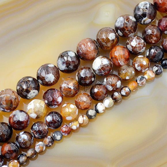 Faceted Natural Red Dream Fire Agate Gemstone Round Loose Beads on a 15.5