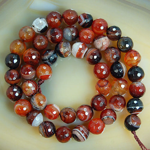 Faceted Natural Red Dream Striated Agate Gemstone Round Loose Beads on a 15.5