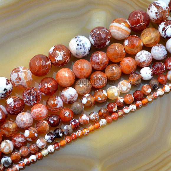 Faceted Natural Red Fire Agate Gemstone Round Loose Beads on a 15.5