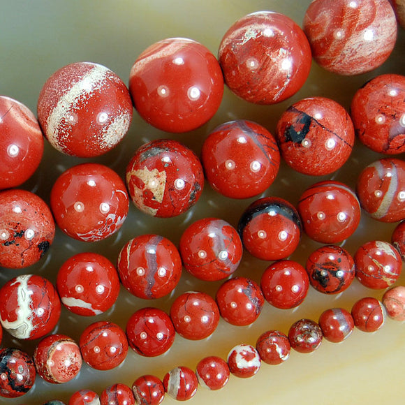 Natural Red River Jasper Gemstone Round Loose Beads on a 15.5