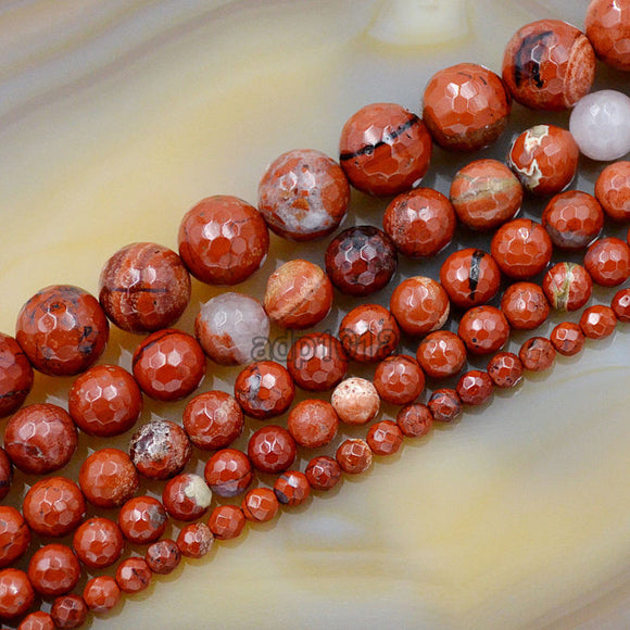 Faceted Natural Red River Jasper Gemstone Round Loose Beads on a 15.5