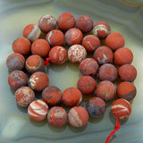 "Matte Natural Red River Jasper Gemstone Round Loose Beads on a 15.5"" Strand"