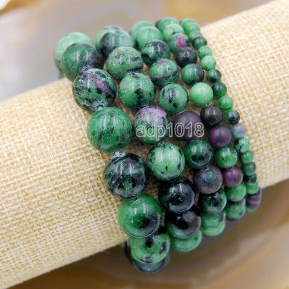 Natural Red Ruby Zoisite Gemstone Beads Stretch Bracelet Healing Reiki